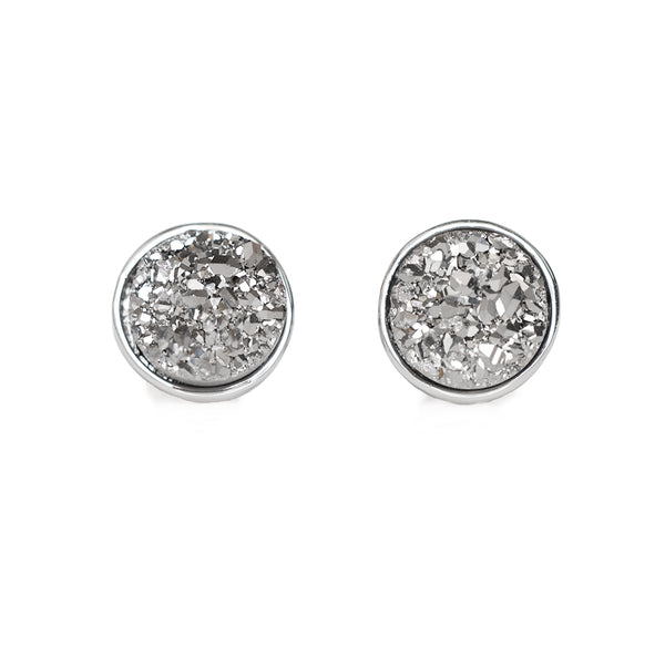 Charcoal Drusy Stud Earrings