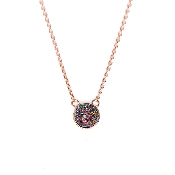 Peacock Drusy Bezel Necklace