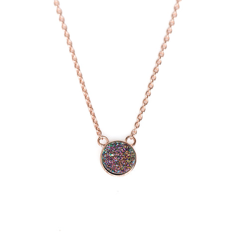 Peacock Rainbow Drusy Bezel Necklace