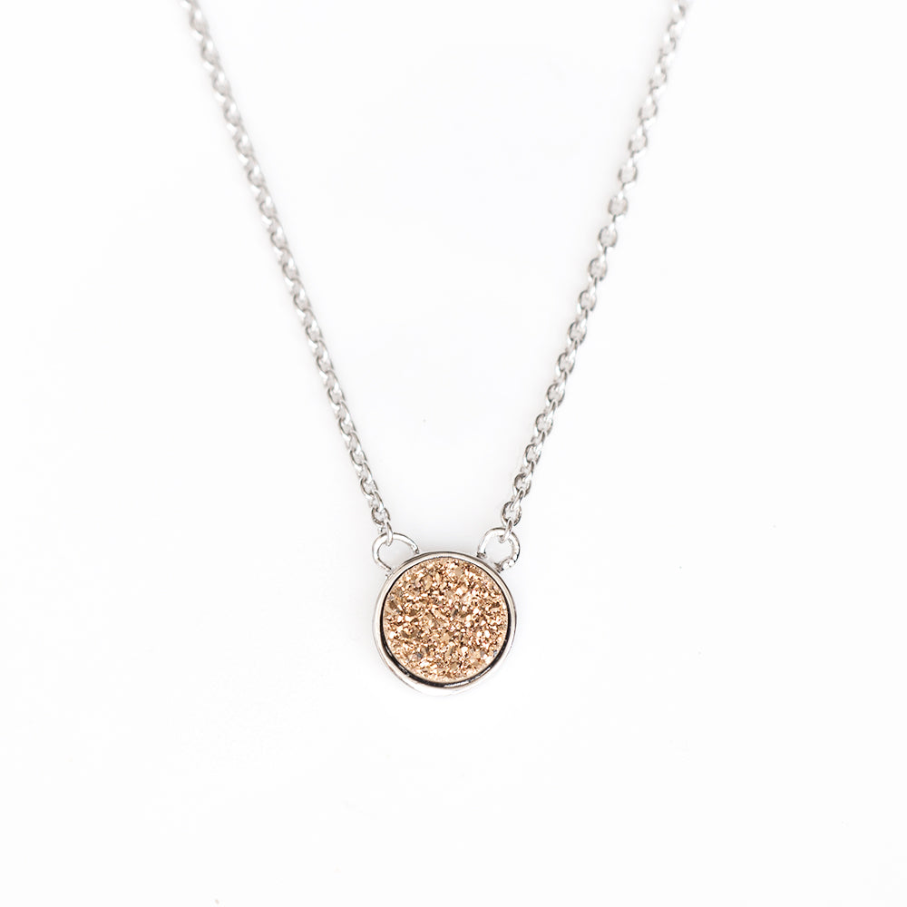 Soleil Champagne Drusy Bezel Necklace