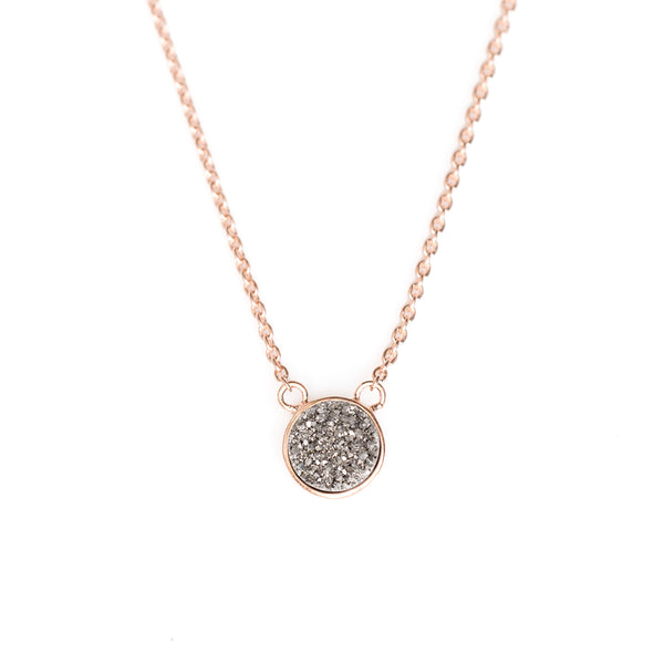 Solitaire Silver Drusy Bezel Necklace