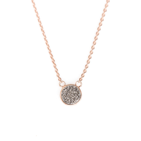 Solitaire Drusy Bezel Necklace