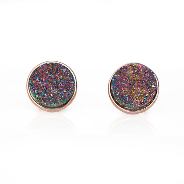 Peacock Drusy Stud Earrings