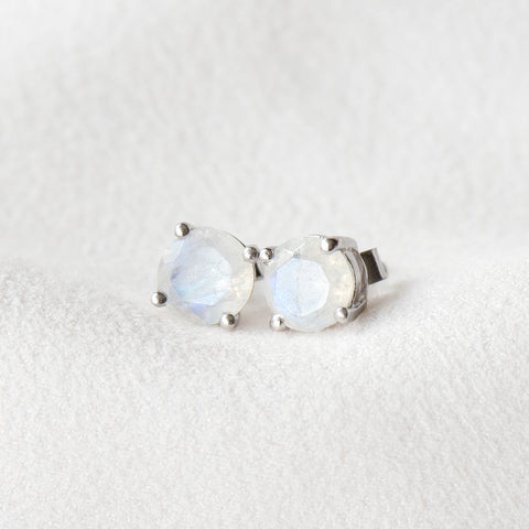 """Carrie"" Rainbow Moonstone Stud Earrings (RESTOCKED)"