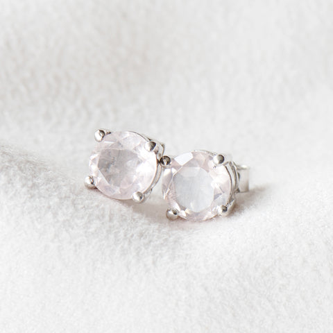 """Rachel"" Rose Quartz Stud Earrings"