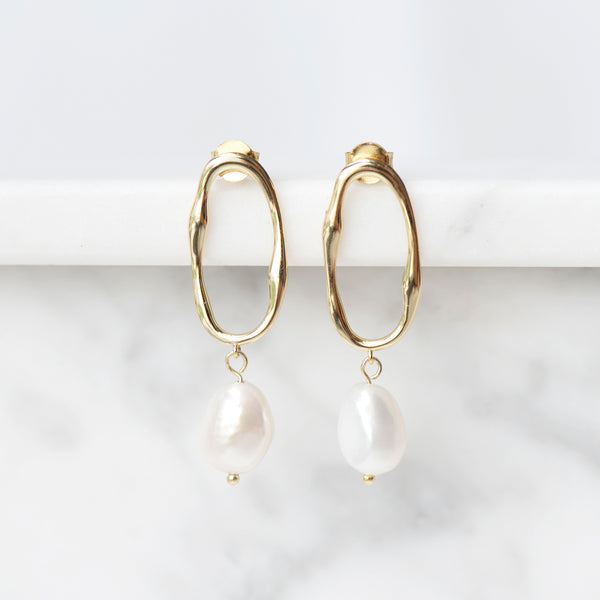 Portofino Baroque Pearl Drop Earrings in 18k Gold