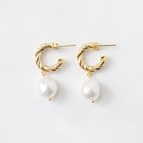 Frou-Frou Baroque Pearl Drop Earrings in 18k Gold
