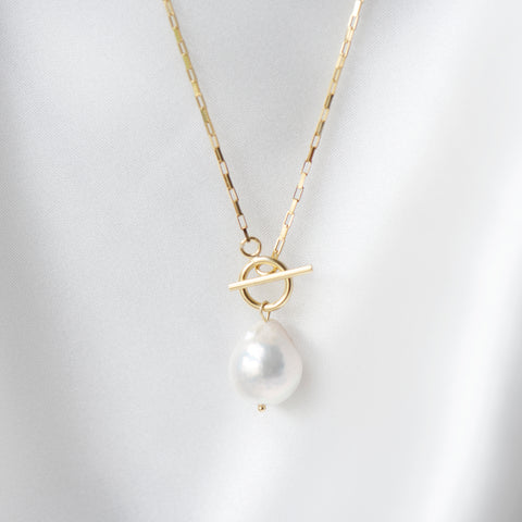 Capri Baroque Pearl Loop Necklace in 18k Gold (Running Low)