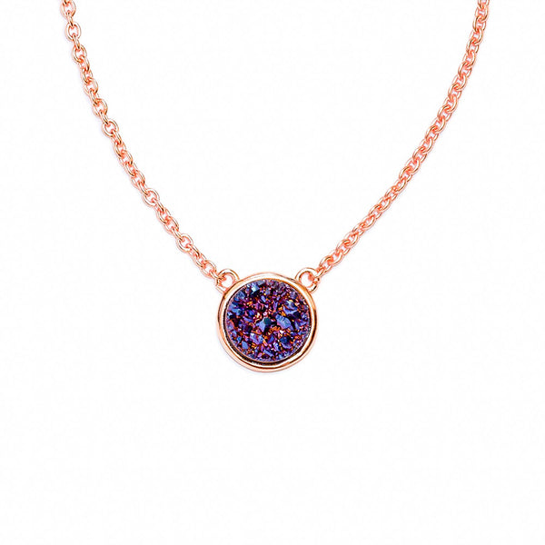 Deep Indigo Drusy Bezel Necklace (Running Low)