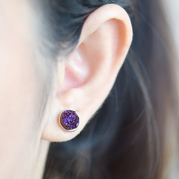 Deep Indigo Drusy Stud Earrings (Running Low)
