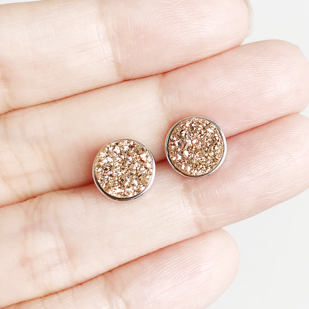 Soleil Champagne Drusy Stud Earrings