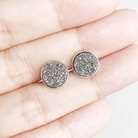 Solitaire Drusy Stud Earrings