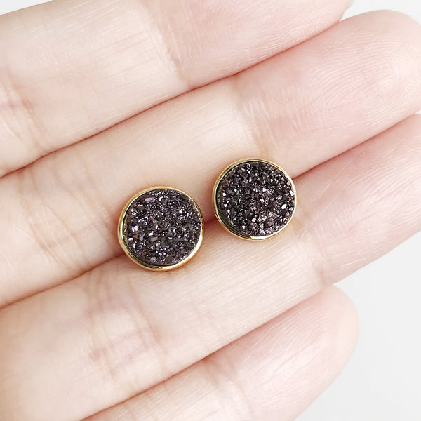 Chocolatine Drusy Stud Earrings (Running Low)