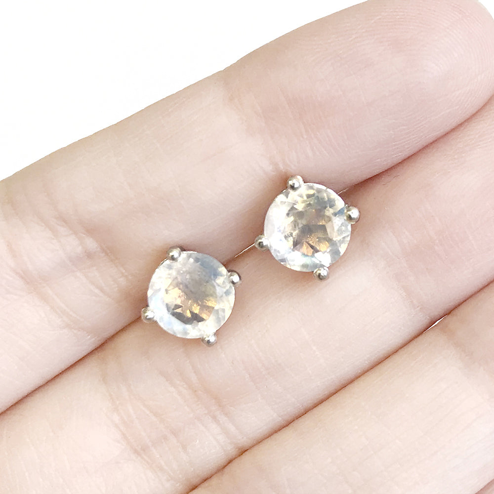 Glittering Stud Earrings - Rainbow Moonstone (New, Running Low)