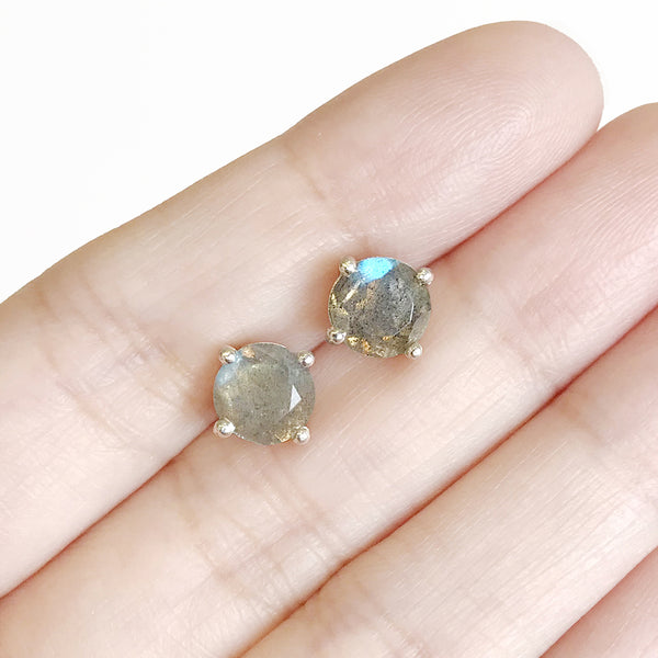 Glittering Stud Earrings - Labradorite (New)