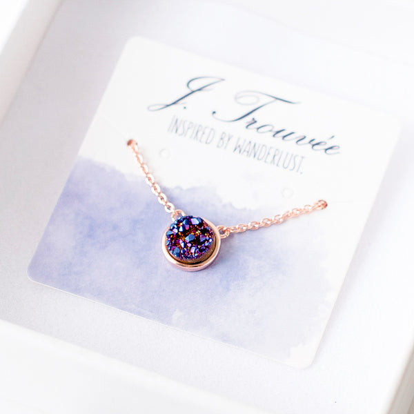 Deep Indigo Drusy Bezel Necklace