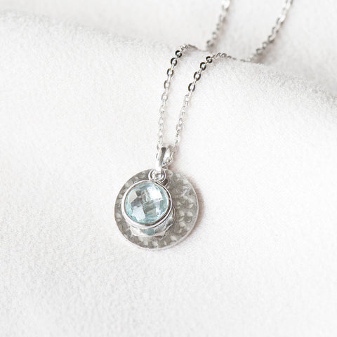 """Katie"" Sky Blue Topaz Hand Hammered Disc Necklace"