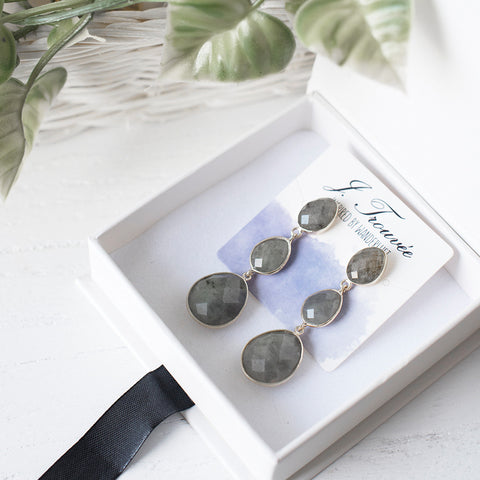 Labradorite Tri-Drop Earrings