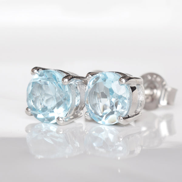 Glittering Stud Earrings - Sky Blue Topaz (New)