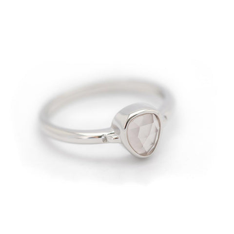 """Lolita"" Rose Quartz Bezel Ring - Silver"