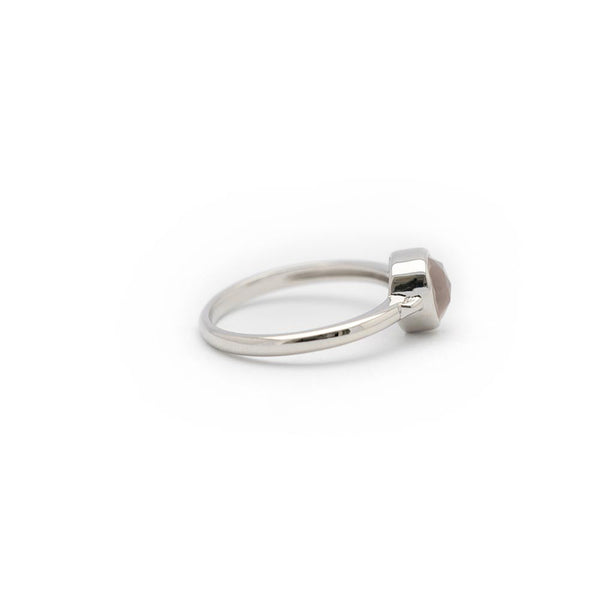 Lolita Rose Quartz Bezel Ring - Silver
