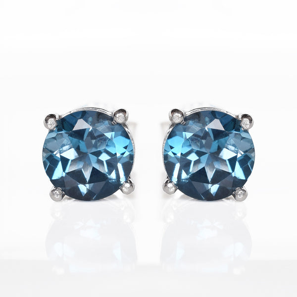 Glittering Stud Earrings - London Blue Topaz (Running Low)