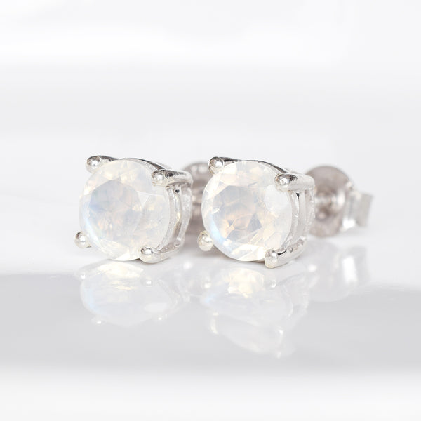 """Carrie"" Rainbow Moonstone Stud Earrings"