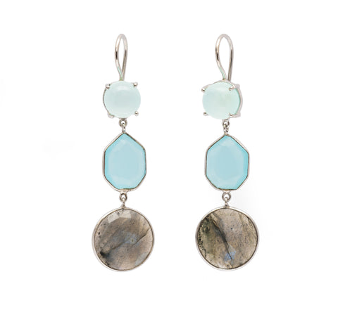 Trilogy Chalcedony and Labradorite Earrings - Silver (Running Low)