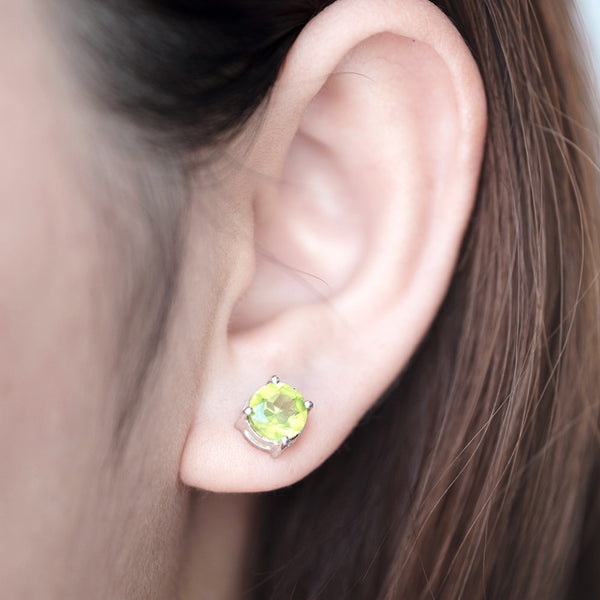 Glittering Stud Earrings - Peridot