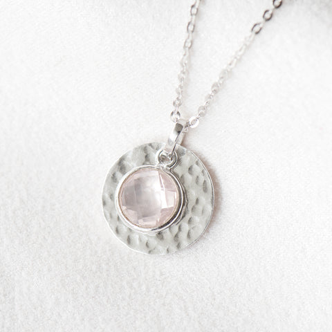 """Rachel"" Rose Quartz Hand Hammered Disc Necklace"