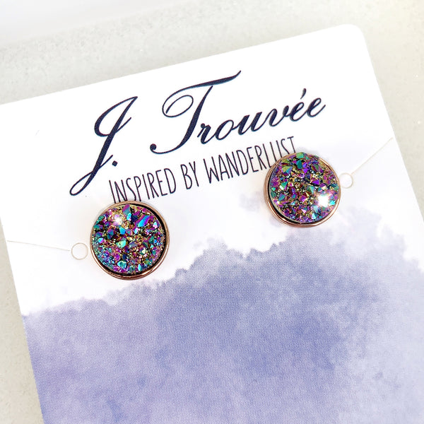 Peacock Rainbow Drusy Stud Earrings