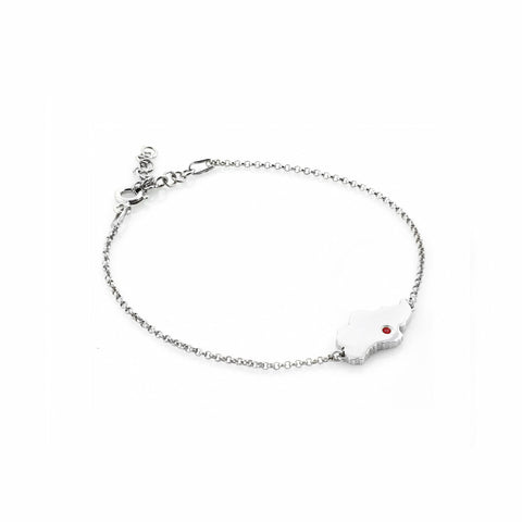 Singapore Island Bracelet in White Gold with Red Crystal