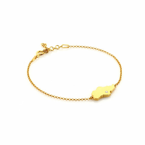 Singapore Island Bracelet in Yellow Gold with White Crystal