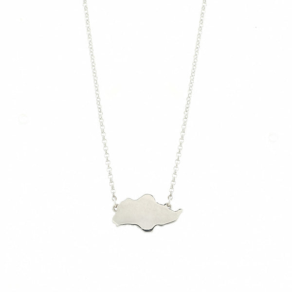 Singapore Island Necklace in White Gold