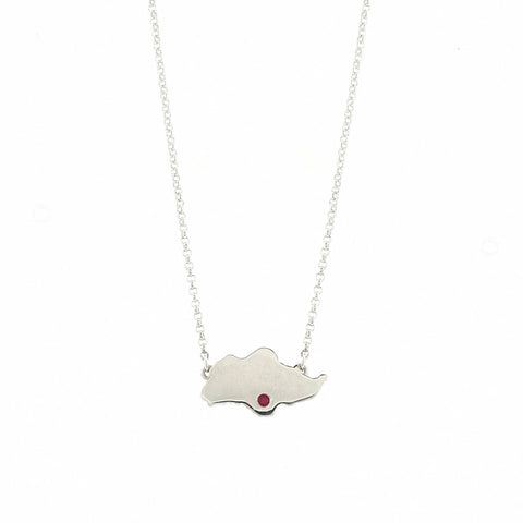 Singapore Island Necklace in White Gold with Red Crystal (Restocked)