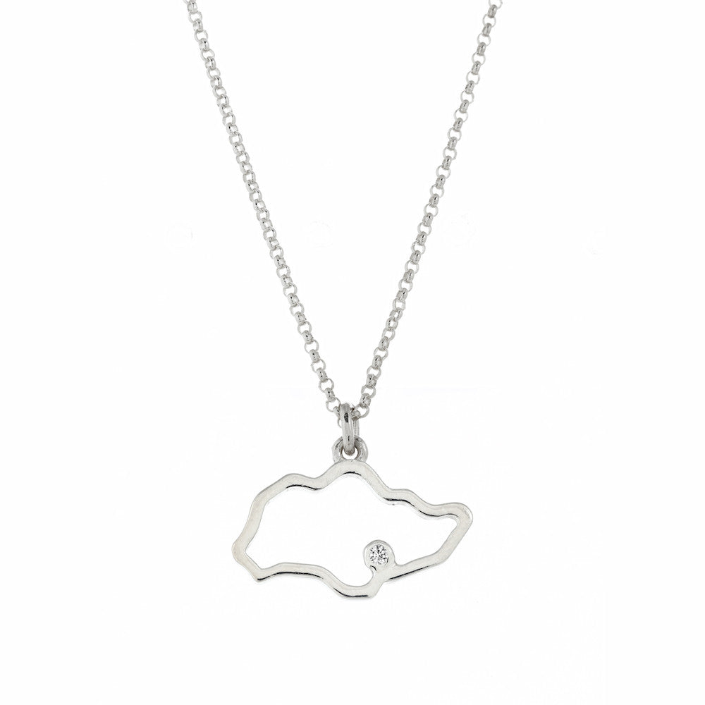 Singapore Island Outline Necklace in White Gold