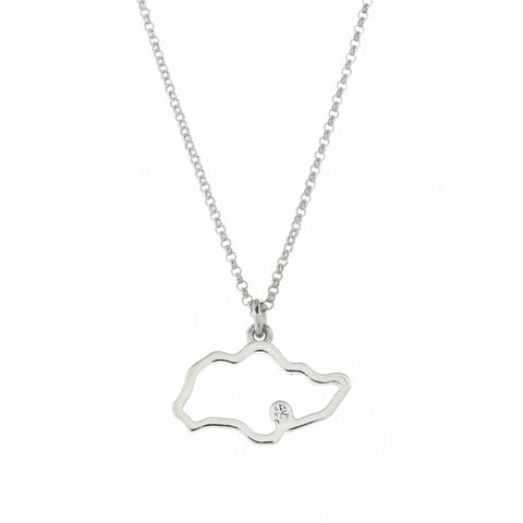 Singapore Island Outline Necklace in White Gold (Restocked)