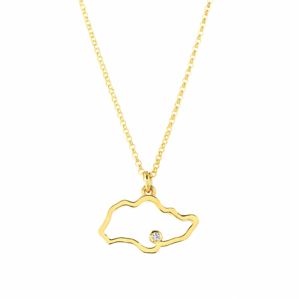 Singapore Island Outline Necklace in Yellow Gold