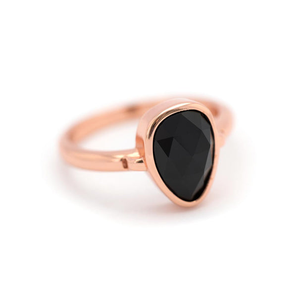 """SoHo"" Black Onyx Bezel Ring - Rose Gold"