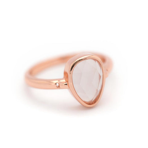 """SoHo"" Rose Quartz Bezel Ring - Rose Gold"