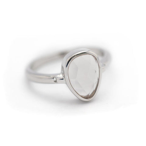 """SoHo"" Rose Quartz Bezel Ring - Silver"