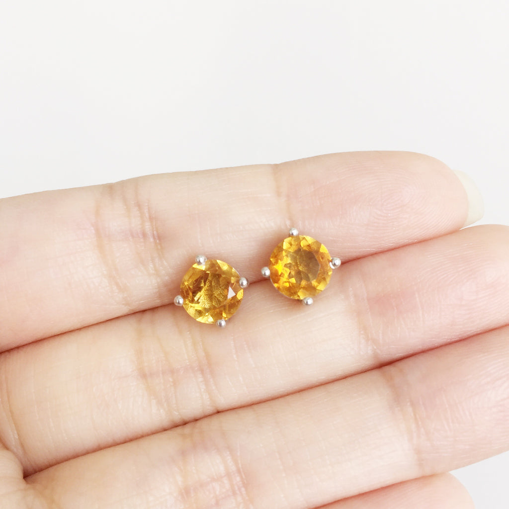 Glittering Stud Earrings - Citrine (Restocked)