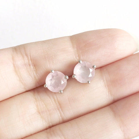 Glittering Stud Earrings - Rose Quartz (Restocked)