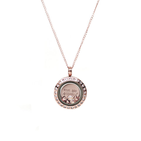 Mini Locket Necklace in Rose Gold