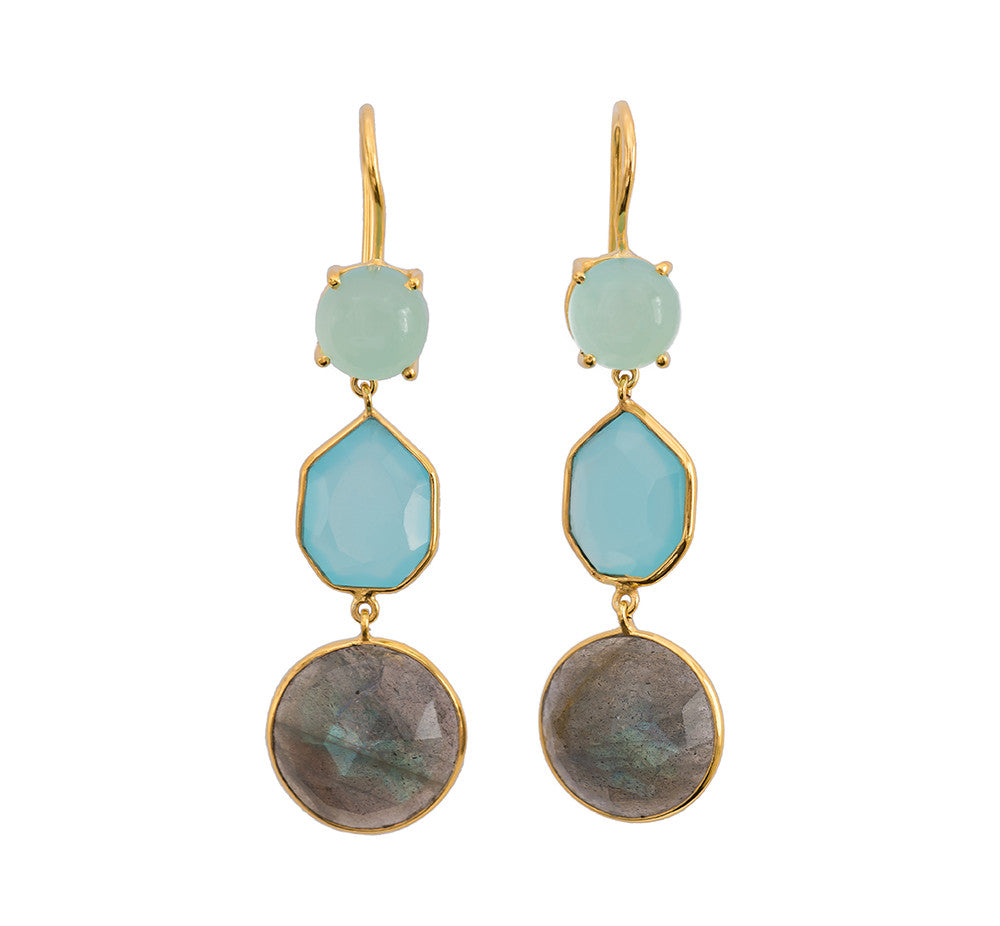 Trilogy Chalcedony and Labradorite Earrings - Gold (Running Low)