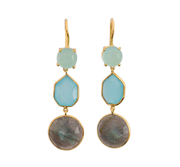 Trilogy Chalcedony and Labradorite Earrings - Gold
