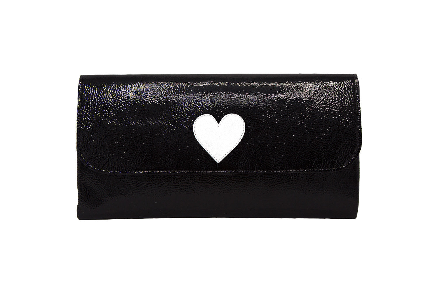 Elle Clutch Cracked Black Patent Leather w/ White Heart