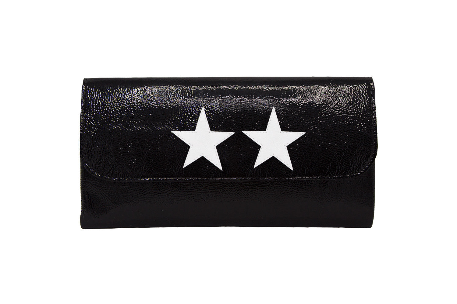 Elle Clutch Cracked Black Patent Leather w/ 2 White Star