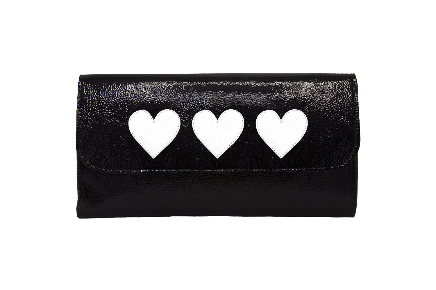Elle Clutch Cracked Black Patent Leather w/ 3 White Heart