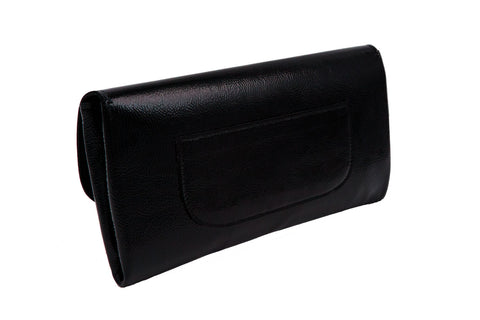 Elle Clutch Cracked Black Patent Leather w/ 2 White Heart